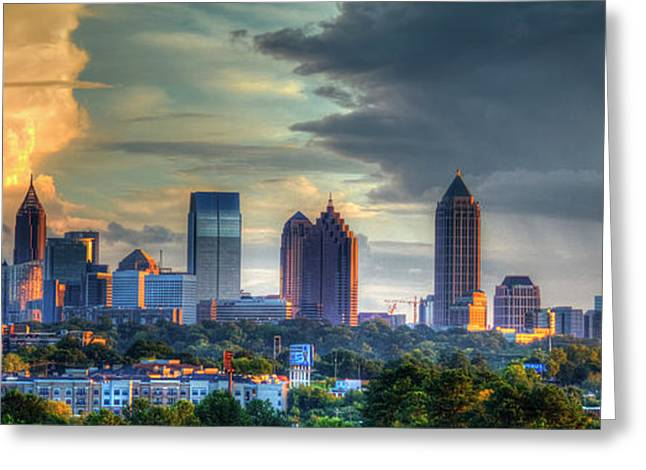 Atlanta Sunset Panorama Cityscape Art Greeting Card