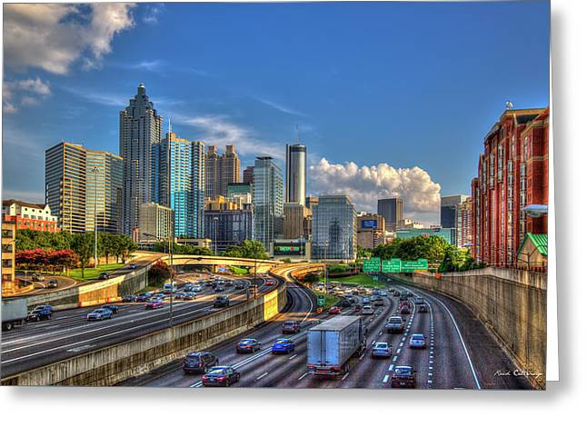 Atlanta The Capital Of The South Cityscape Sunset Reflections Art Greeting Card