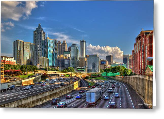 Greeting Card featuring the photograph Atlanta The Capital Of The South Cityscapes Sunset Reflections Art by Reid Callaway