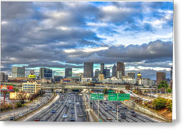 Atlanta Wide Angle Downtown Atlanta Cityscape Skyline Art Greeting Card by Reid Callaway