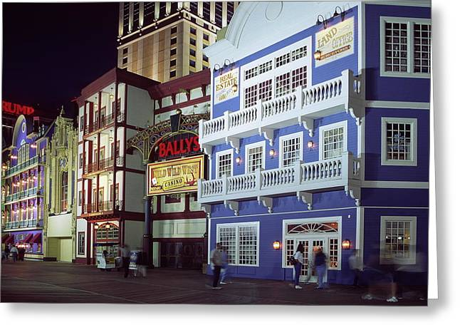 Greeting Card featuring the photograph Atlantic City Boardwalk At Night by Sally Weigand