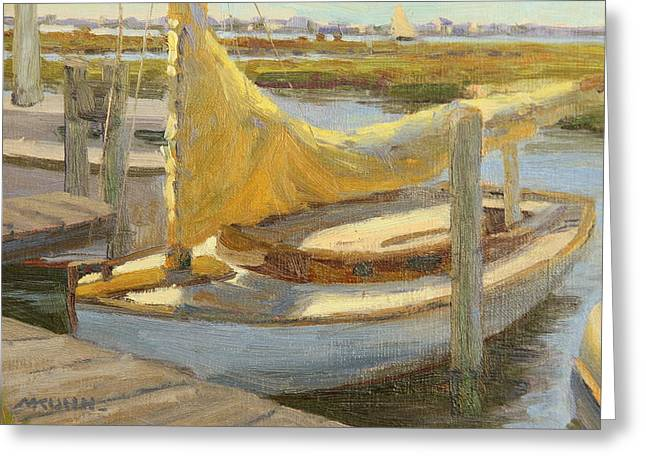 Atlantic City Cat Boat Greeting Card by Marianne Kuhn