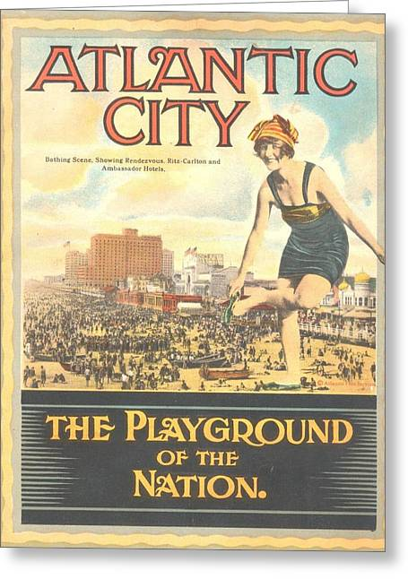 Atlantic City The Playground Of The Nation Greeting Card by NewJerseyAlmanac