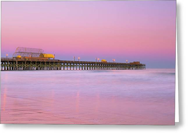 Greeting Card featuring the photograph Atlantic Ocean And The Apache Pier At Sunset In South Carolina by Ranjay Mitra
