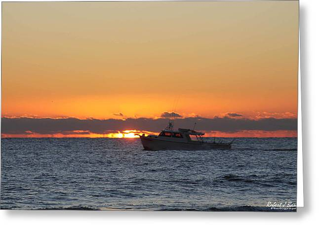 Atlantic Ocean Fishing At Sunrise Greeting Card