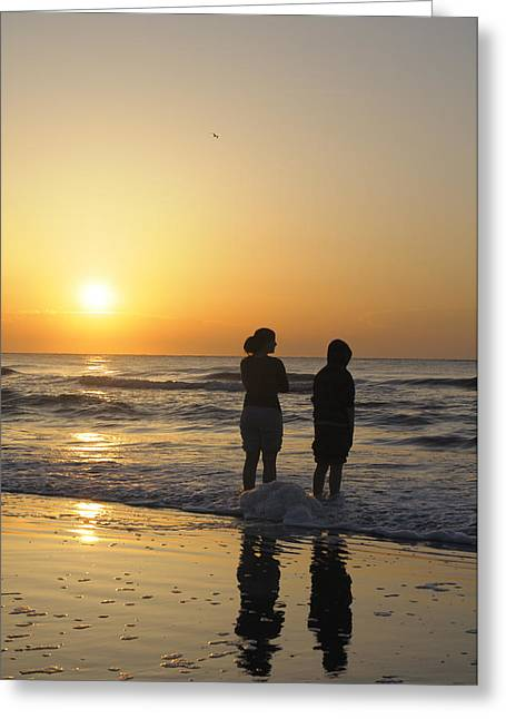 Atlantic Ocean Sunrise - Vertical Greeting Card by Darrell Young