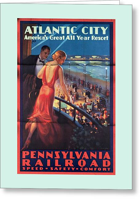 Atlantinc City - America's Great All Year Resort - Vintage Poster Folded Greeting Card
