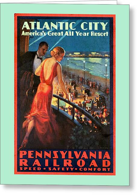 Atlantinc City - America's Great All Year Resort - Vintage Poster Vintagelized Greeting Card