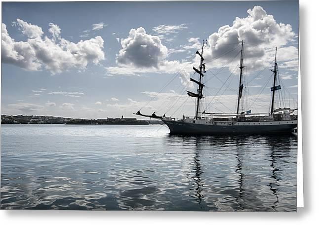 Cloth Greeting Cards - Atlantis - A Three Masts Vessel In Port Mahon Crystaline Water Greeting Card by Pedro Cardona
