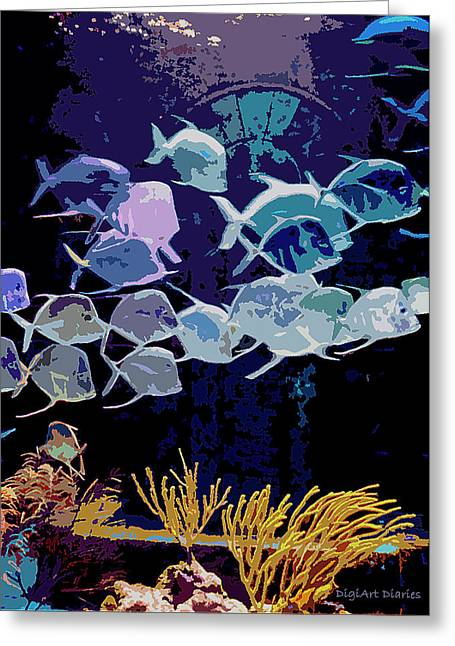 Atlantis Aquarium Greeting Card by DigiArt Diaries by Vicky B Fuller