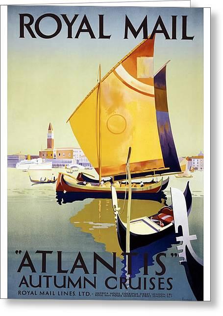 Atlantis Autumn Cruises - Sailboats And Yachts In A Harbor - Royal Mail - Vintage Advertising Poster Greeting Card