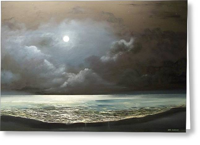 Greeting Card featuring the painting Atlantis Moon by Ken Ahlering