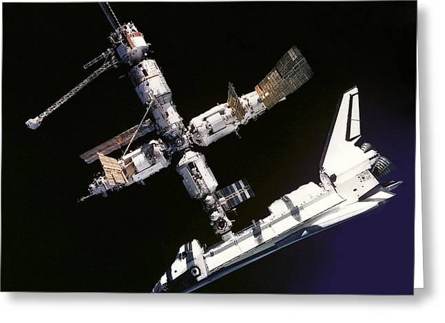 Atlantis Shuttle Docked To Space Station Greeting Card