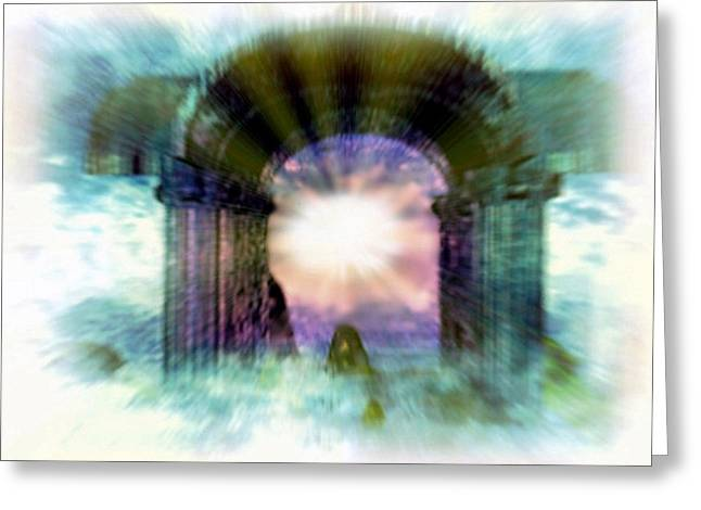 Atlantis Welcomes You Greeting Card by Rebecca Phillips