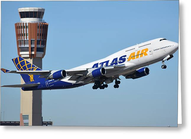 Atlas Air Boeing 747-446 N465mc Phoenix Sky Harbor January 12 2015 Greeting Card by Brian Lockett