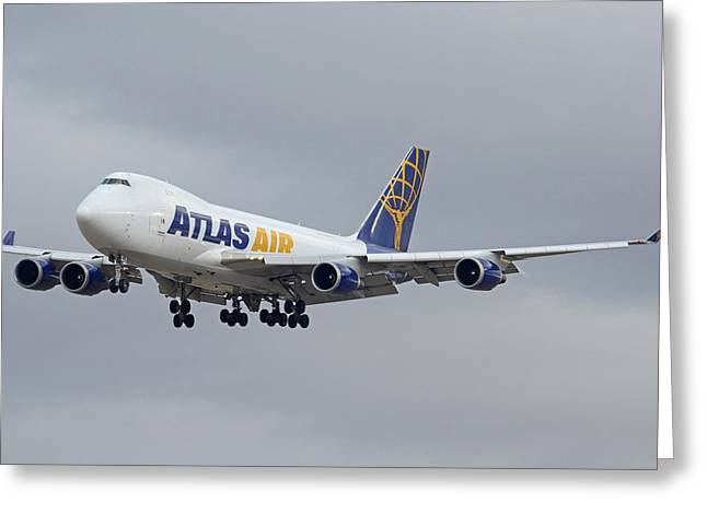 Atlas Air Boeing 747-47uf N415mc Phoenix Sky Harbor December 23 2015  Greeting Card by Brian Lockett