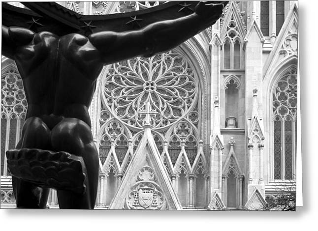 Atlas And St. Patrick's Cathedral Greeting Card