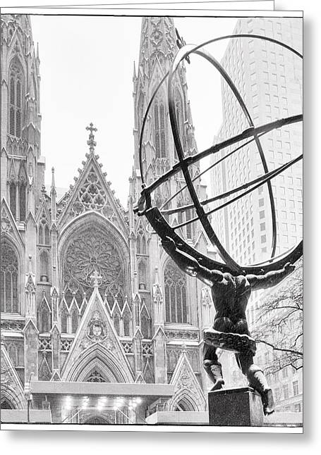 Snowscape Greeting Cards - Atlas and the Cathedral Greeting Card by Vicki Jauron