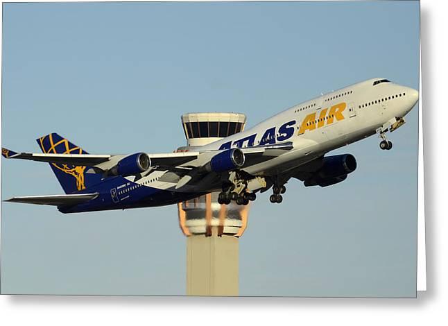 Atlas Boeing 747-446 N465mc Phoenix Sky Harbor January 3 2015 Greeting Card by Brian Lockett
