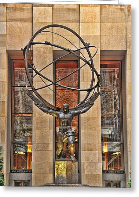 Atlas Bronze Statue At Rockefeller Center Greeting Card by Dan Sproul