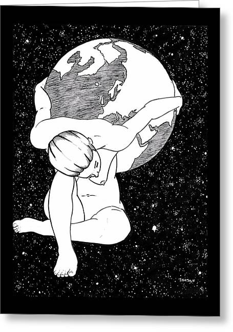 Atlas, Framed By Night Greeting Card by Trajan Marlin