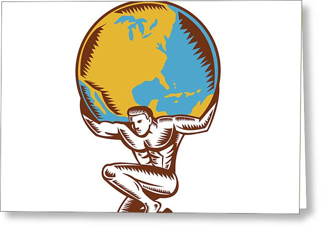 Atlas Lifting Globe Kneeling Woodcut Greeting Card