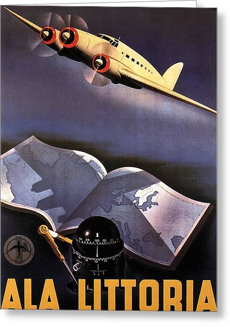 Atlas, Map And Compass - Vintage Propeller Aircraft - Ala Littoria - Vintage Travel Poster Greeting Card