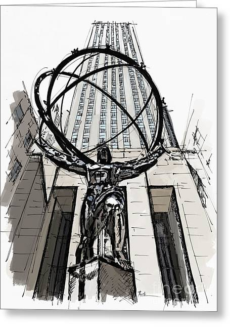 Atlas Sculpture Sketch In New York City Greeting Card by Pablo Franchi