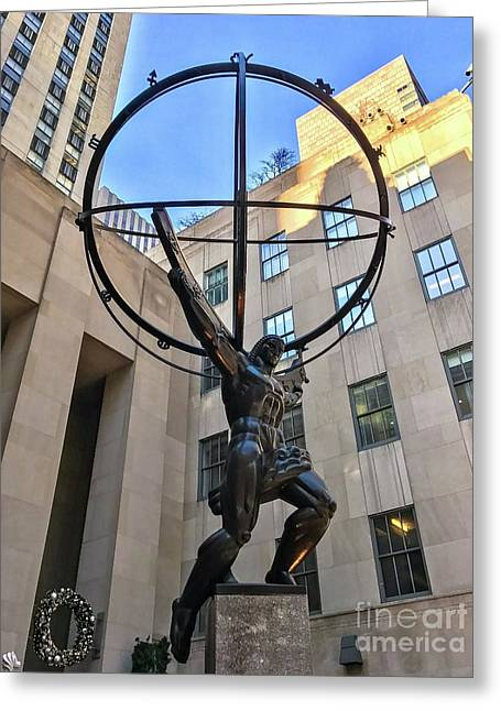 Atlas Statue Greeting Card by CAC Graphics