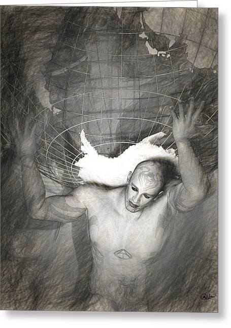 Atlas Titan Drawing Greeting Card by Quim Abella