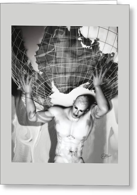 Atlas Titan Grey Greeting Card by Quim Abella