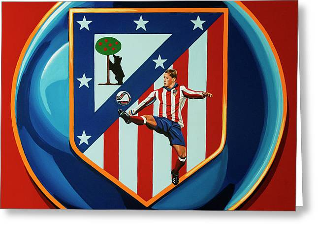 Atletico Madrid Painting Greeting Card