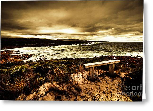 Atmospheric Beach Artwork Greeting Card