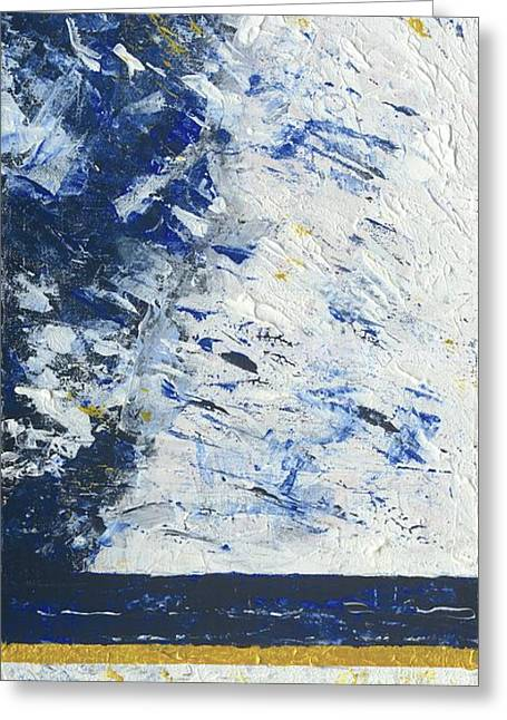 Greeting Card featuring the painting Atmospheric Conditions, Panel 1 Of 3 by Kathryn Riley Parker