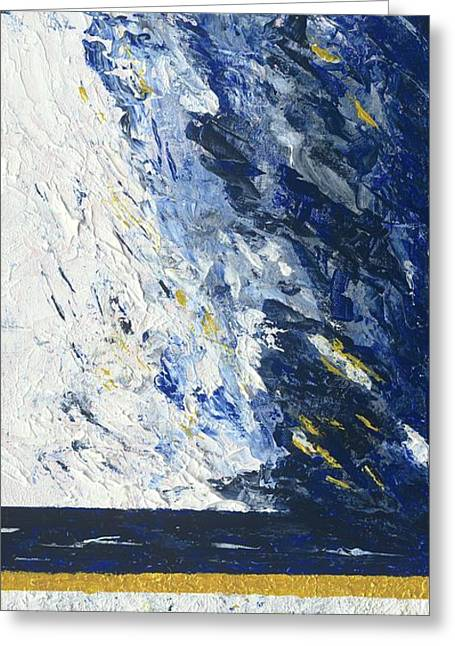 Greeting Card featuring the painting Atmospheric Conditions, Panel 2 Of 3 by Kathryn Riley Parker