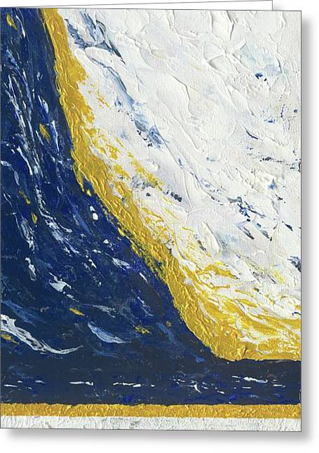 Greeting Card featuring the painting Atmospheric Conditions, Panel 3 Of 3 by Kathryn Riley Parker