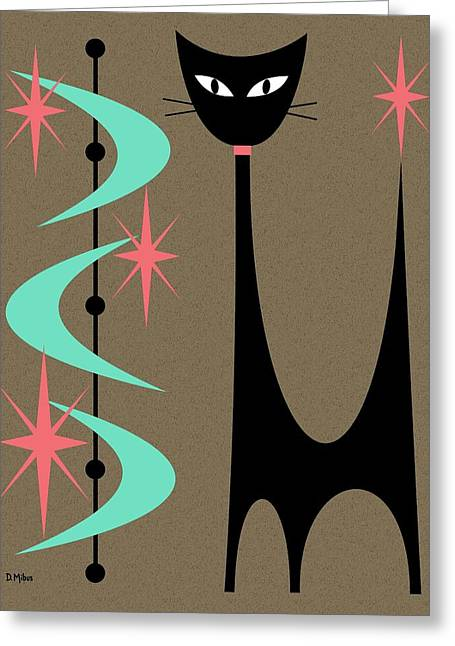 Greeting Card featuring the digital art Atomic Cat Aqua And Pink by Donna Mibus