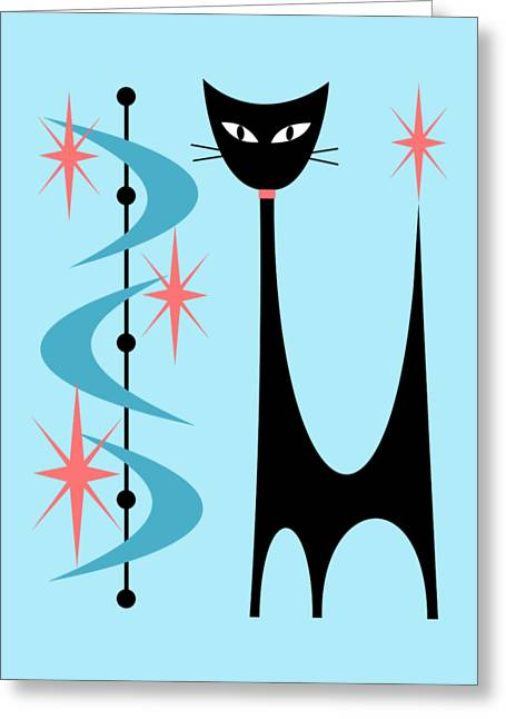Atomic Cat Turquoise And Pink  Greeting Card