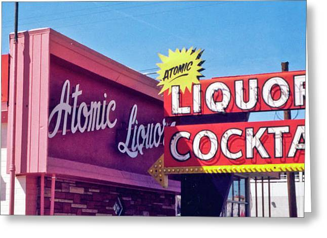 Greeting Card featuring the photograph Atomic Liquors by Matthew Bamberg