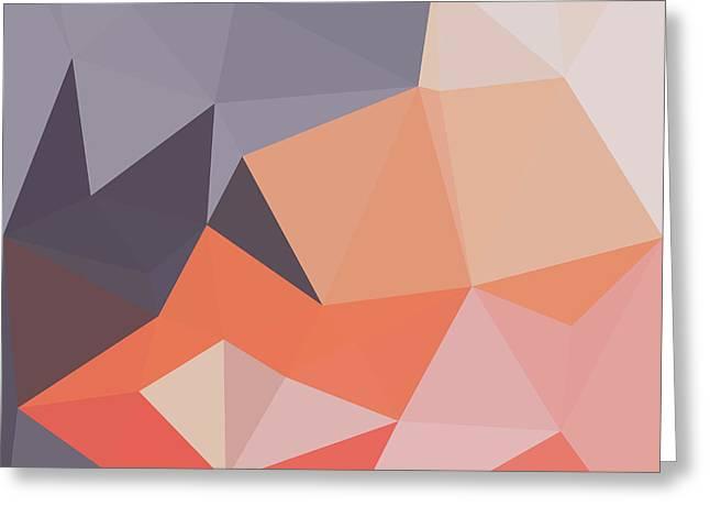 Atomic Tangerine Orange Abstract Low Polygon Background Greeting Card
