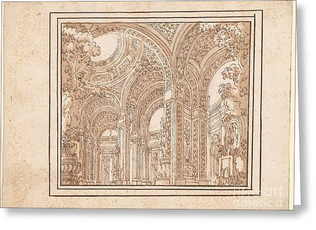 Atrium With Columns And Foliage Greeting Card by Celestial Images