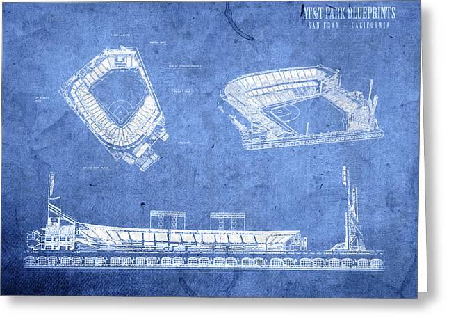 Att Park San Francisco Giants Baseball Stadium Field Blueprints Greeting Card by Design Turnpike