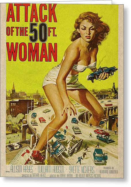 Attack Of The 50 Ft Woman Vintage Movie Poster Greeting Card