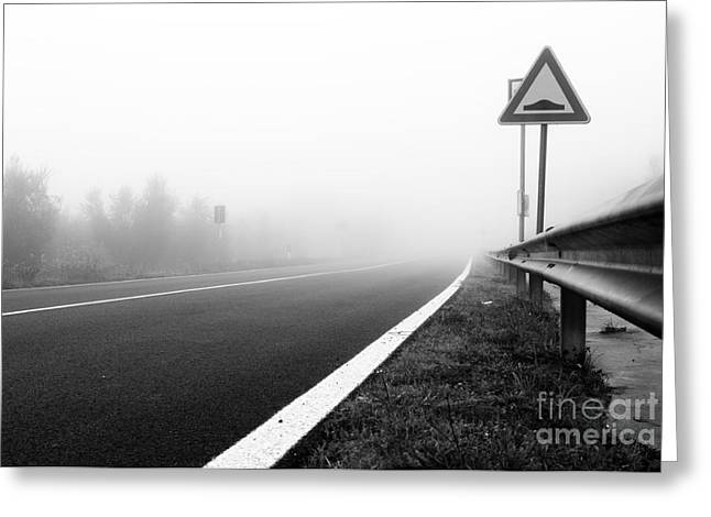 Attention To Guardrail Greeting Card