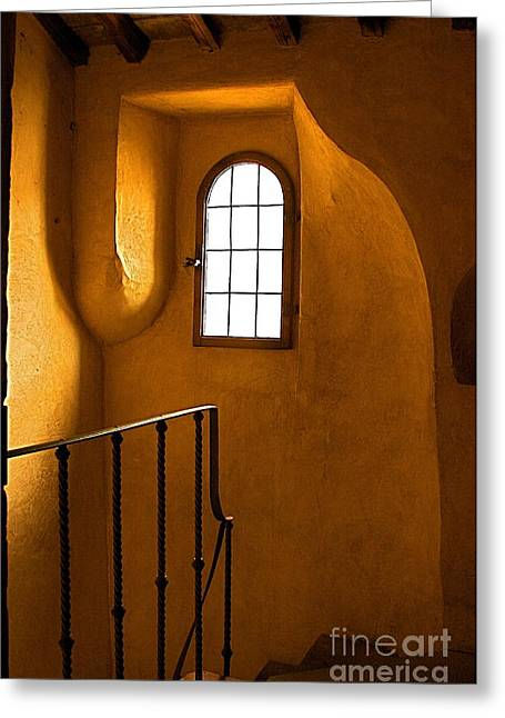 Greeting Card featuring the photograph Attic Stairs-fiesole St.francis Monastery by Nicola Fiscarelli