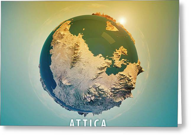 Attica Greece 3d Little Planet 360-degree Sphere Panorama Greeting Card by Frank Ramspott