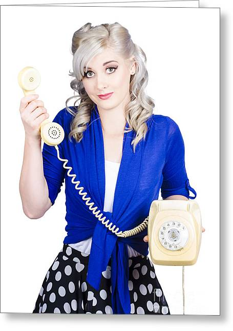 Attractive Blond Female Secretary On Vintage Phone Greeting Card