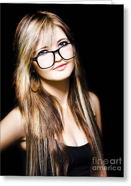 Attractive Business Woman On Black Background Greeting Card by Jorgo Photography - Wall Art Gallery