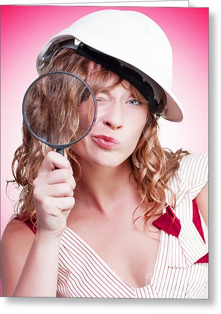 Attractive Female Building Inspector With Hardhat Greeting Card by Jorgo Photography - Wall Art Gallery