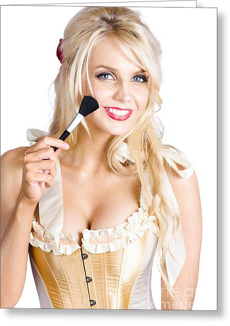 Attractive Woman Applying Makeup Pre Performance Greeting Card by Jorgo Photography - Wall Art Gallery